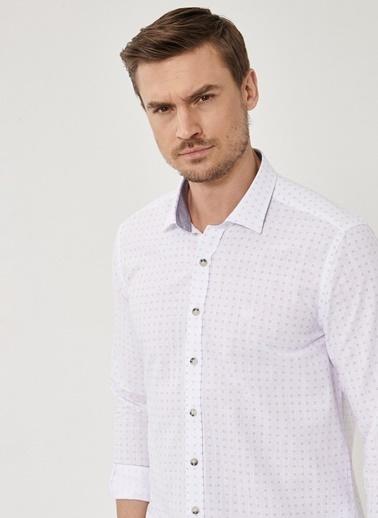 Beymen Business Slim Fit Baskılı Gömlek 4B2021200005 Beyaz